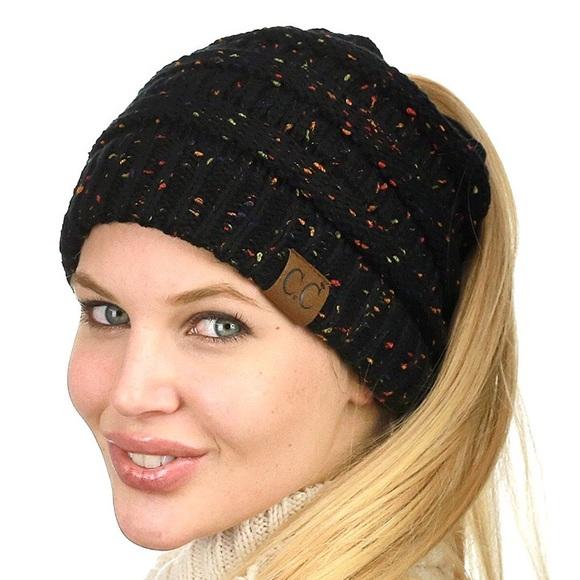 dac894d432b2b0 C.C. Accessories   Cc Beanietail Cable Knit Messy Bun Ponytail Hat ...